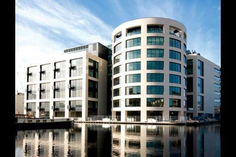 Kings Place is grand civic architecture that addresses a corner in the canal and is faced in superb Jura limestone.